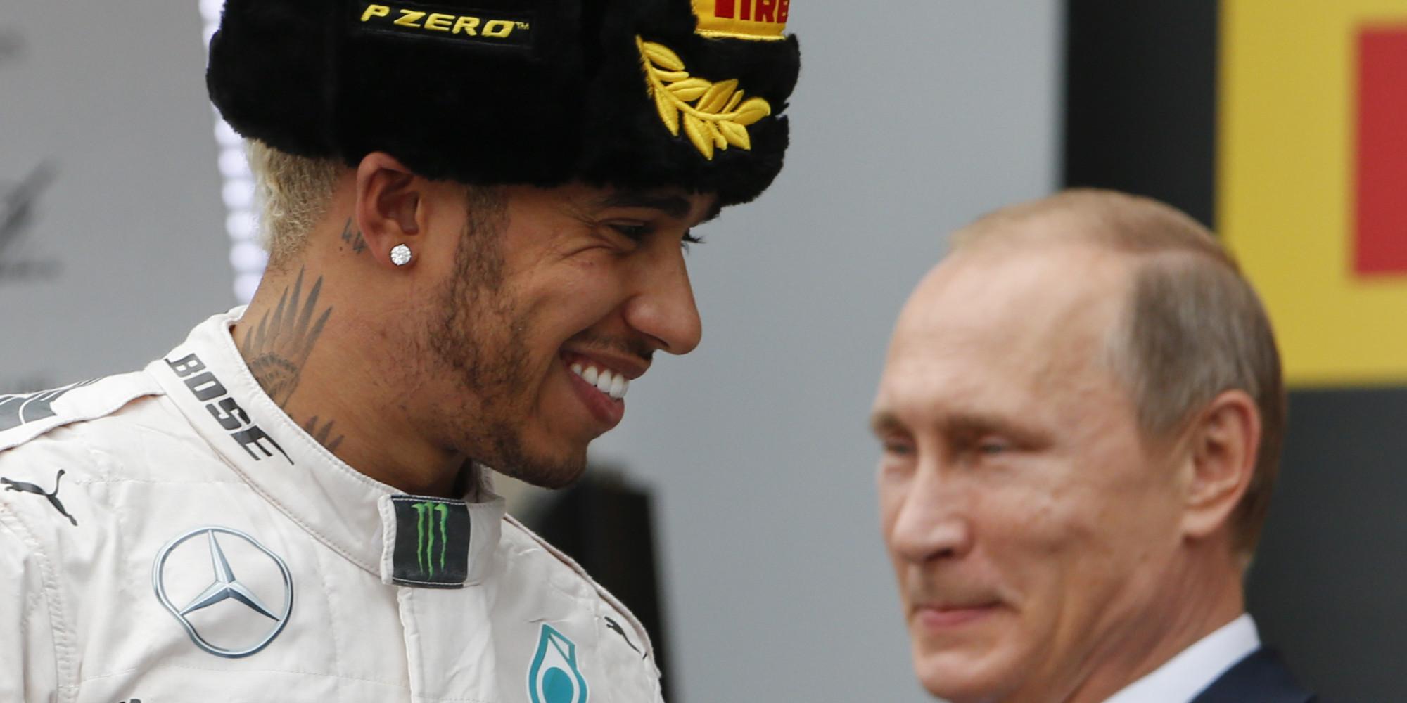 Lewis Hamilton Sprays Vladimir Putin With Champagne At