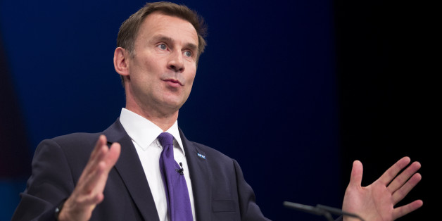Secretary of State for Health Jeremy Hunt delivers his speech to delegates in the third day of the Conservative Party annual conference at Manchester Central Convention Centre.
