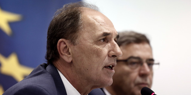 George Stathakis, Greece's economy minister, speaks during a news conference in Athens, Greece, on Wednesday, Sept. 23, 2015. The new government in Athens, named late on Tuesday, will have to immediately start implementing a wide slate of politically toxic austerity measures that will test its cohesion and could result in yet another election if enough lawmakers waver. Photographer: Kostas Tsironis/Bloomberg via Getty Images