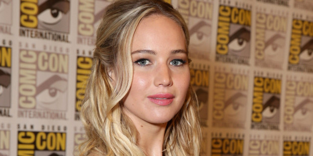 """Jennifer Lawrence seen at Lionsgate """"The Hunger Games: Mockingjay Part 2"""" Presentation at 2015 Comic Con on Thursday, July 9, 2015, in San Diego. (Photo by Eric Charbonneau/Invision for Lionsgate/AP Images)"""
