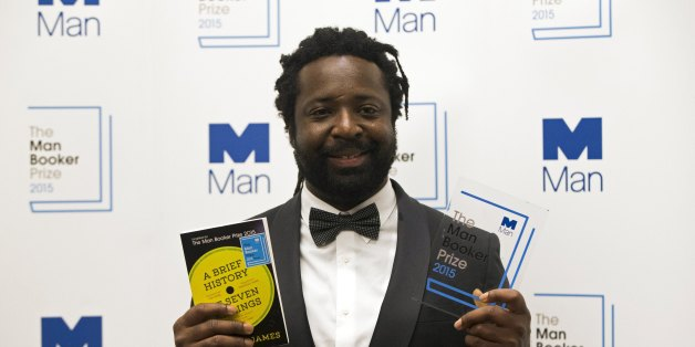 LONDON, ENGLAND - OCTOBER 13:  Marlon James author of 'A Brief History of Seven Killings' poses for photographers after winning the Man Booker Prize for Fiction 2015 at The Guildhall on October 13, 2015 in London, England.  (Photo by Neil Hall - WPA Pool /Getty Images)