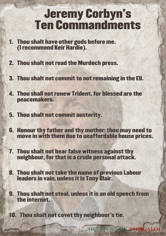 jeremy corbyn ten commandments