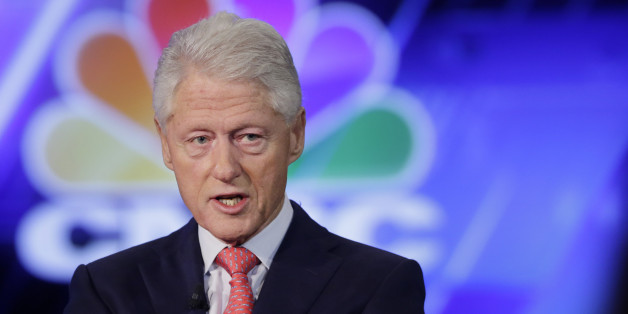 Former President Bill Clinton is interviewed by Becky Quick of CNBC at the Clinton Global Initiative Monday, Sept. 28, 2015 in New York.  (AP Photo/Mark Lennihan)