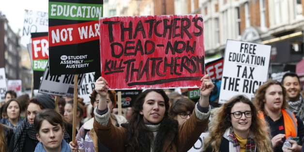 Students from across the country, in central London, taking part in a march through the capital to protest against tuition fees, debt and spending cuts.