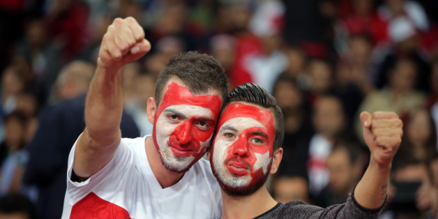 Soccer fans of Turkey's react before their Euro 2016 Group A qualifying match between Turkey and Iceland at the Buyuksehir Torku Arena Stadium in Konya, Turkey, Tuesday, Oct. 13, 2015.(AP Photo)