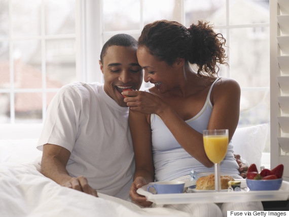 breakfast in bed black couple