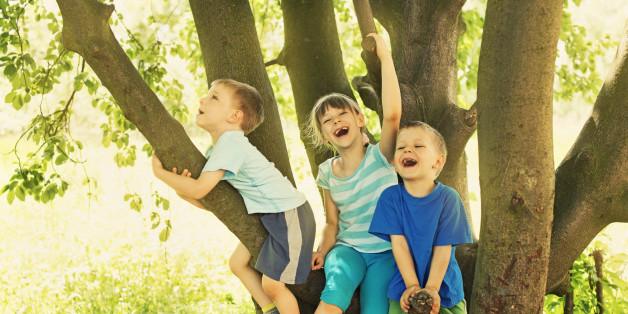 Brothers and sister having fun sitting on tree