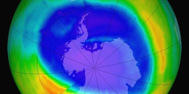 Edited NASA visualization of the South Pole and the ozone hold, which is shrinking recently.