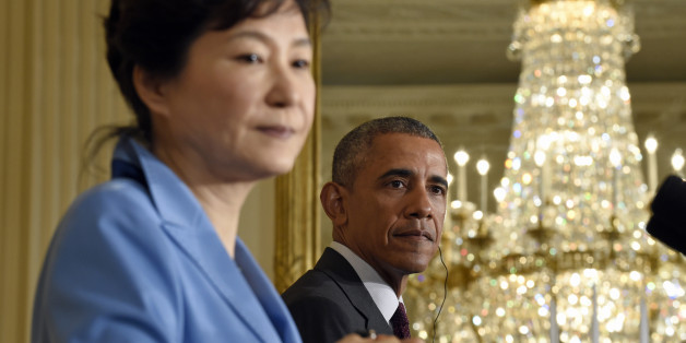 President Barack Obama and South Korean President Park Geun-hye take part in a joint news conference in the East Room of the White House in Washington, Friday, Oct. 16, 2015. (AP Photo/Susan Walsh)