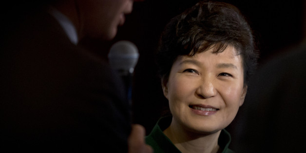 South Korean President Park Geun-hye smiles after speaking to the U.S. Chamber of Commerce and the U.S.-Korea Business Council annual meeting in Washington, Thursday, Oct. 15, 2015.   (AP Photo/Manuel Balce Ceneta)