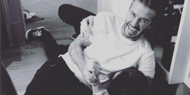 David Beckham freut sich über seinen vorzeitigen Triumpf über Sohn Brooklyn