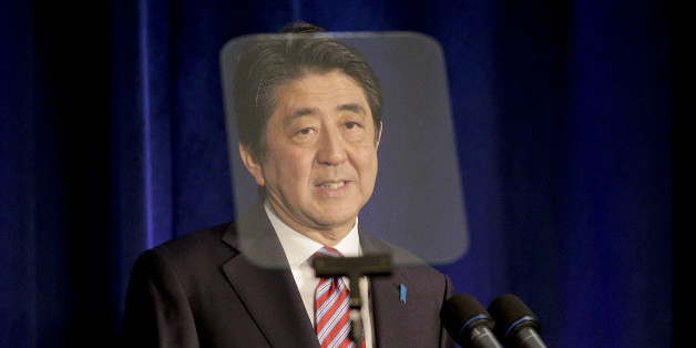 Japan Prime Minister Shinzo Abe speaks during a news conference, Tuesday, Sept. 29, 2015, in New York. (AP Photo/Julie Jacobson)