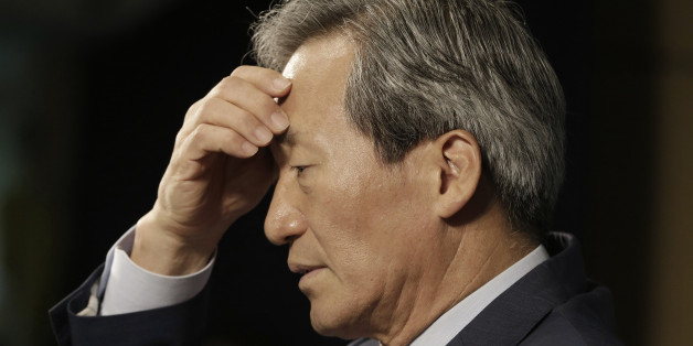 South Korean FIFA presidential candidate Chung Mong-joon pauses to answer questions during a news conference in Seoul, South Korea, Thursday, Sept. 3, 2015. Chung accused the Asian Football Confederation of breaking rules by lobbying for rival candidate Michel Platini in the upcoming FIFA presidential election. Chung said that the AFC has been sending letters to officials of member federations urging them to vote for the Frenchman on Feb. 26. (AP Photo/Ahn Young-joon)