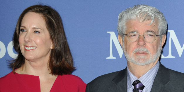 Kathleen Kennedy, at left, and George Lucas arrives at Women in Film's 2013 Crystal + Lucy Awards at The Beverly Hilton Hotel on Wednesday, June 12, 2013 in Beverly Hills, Calif. (Photo by Katy Winn/InvisionE/AP)
