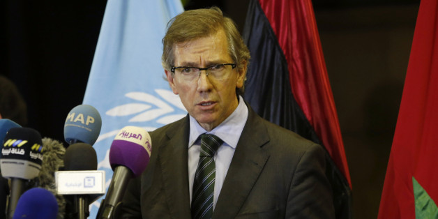 United Nations envoy for Libya Bernardino Leon gestures as he speaks to the media in Skhirat, Morocco, Wednesday, Oct. 7, 2015. U.N. envoy Bernardino Leon has been mediating peace talks between Libya's warring factions for months in hopes of restoring a central government, and expects to announce a national unity government in the coming days. (AP Photo/Abdeljalil Bounhar)