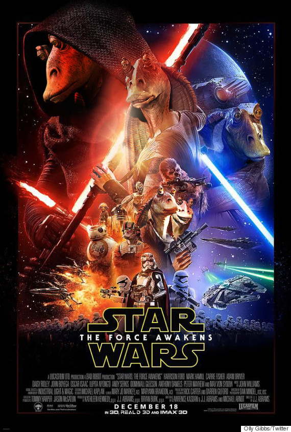jar jar binks star wars force awakens poster