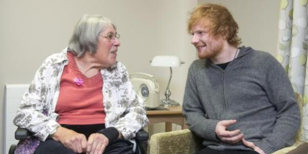 Ed Sheeran with a resident of the Mills Meadow care home in Framlingham, Suffolk