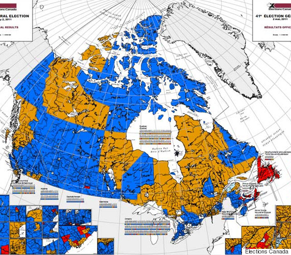 Canada Election Map, Before And After Canadians Voted | HuffPost Canada