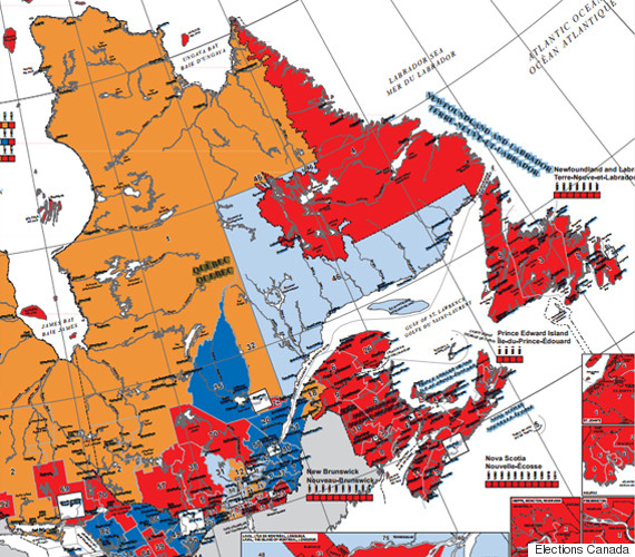 Quebec On Map Of Canada.Canada Election Map Before And After Canadians Voted Huffpost Canada