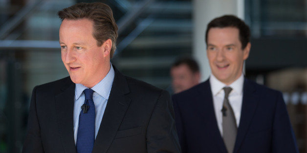 BRISTOL, ENGLAND - APRIL 06:  British Prime Minister David Cameron (L) and British Chancellor George Osborne arrive to speak to party supporters gathered at the Bristol and Bath Science Park on April 6, 2015 in Bristol, England. Campaigning continued today in what is predicted to be Britain's closest national election which will take place on May 7.  (Photo by Matt Cardy/Getty Images)