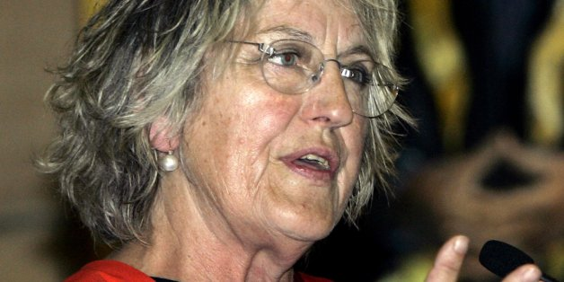 Germaine Greer speaks after she was presented with an Honorary Degree in the great hall of the Sydney University in Sydney, Australia Friday, Nov. 4, 2005. Greer, known for being an outspoken Australian feminist, was awarded an Honorary Degree of Doctor of Letters. (AP Photo/Rob Griffith)