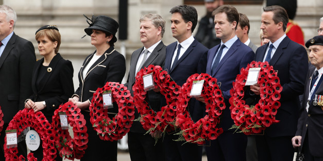 (left to right) SNP party leader Nicola Sturgeon, Northern Ireland politician Arlene Foster, Angus Robertson SNP's leader in the House of Commons, Labour leader Ed Miliband, Liberal Democrat leader Nick Clegg and Prime Minister David Cameron, as they wait to lay wreaths during a Service of Remembrance to mark the 70th anniversary of VE Day, at the Cenotaph, in Whitehall, London.