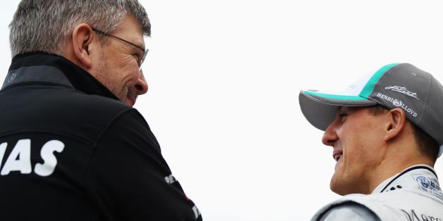 Ross Brawn und Michael Schumacher im Gespräch