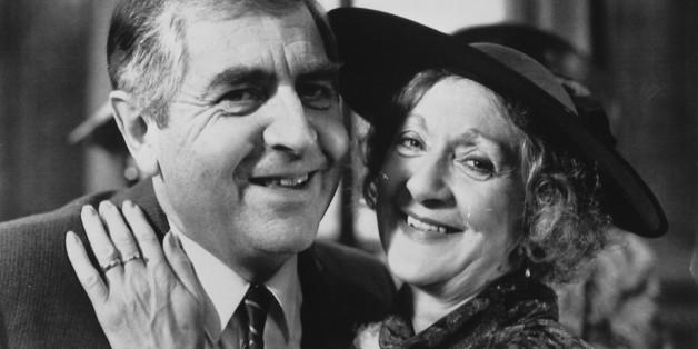 Coronation Street's Mavis Riley, played by Thelma Barlow, marrying Derek Wilton, played by Peter Baldwin, in the long running ITV soap opera.