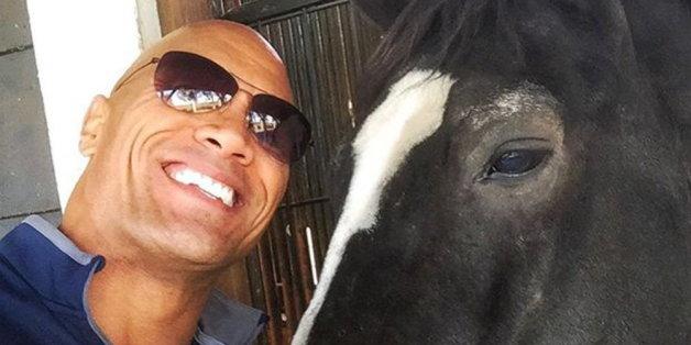 Süß! Dwayne mit dem Pferd seiner Tochter.