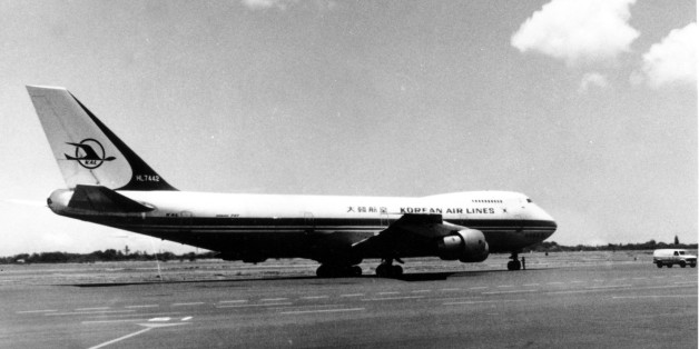 This is a general view of the Korean Boeing 747 passenger plane on the runway at Hawaiian airport in 1982.  This KAL 747 airliner, Korean Airlines Flight 007, was shot down Sept. 1, 1983 by a Soviet fighter plane, killing all 269 persons on board.  (AP Photo)