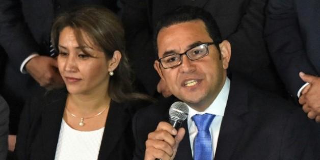 Le nouveau président du Guatemala, Jimmy Morales, candidat du parti de droite FCN-Nacion, le 25 octobre 2015 au soir du 2è tour des élections présidentielles