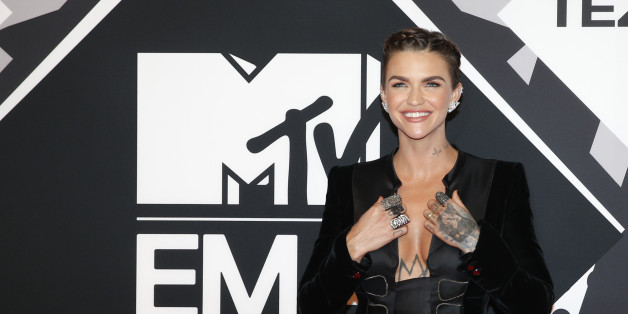 Co-Host Ruby Rose arrives for the 2015 MTV European Music Awards in Milan, Italy, Sunday, Oct. 25, 2015. (AP Photo/Antonio Calanni)