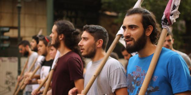 Junge Leute bei einem Protest während der Schuldenkrise in Griechenland