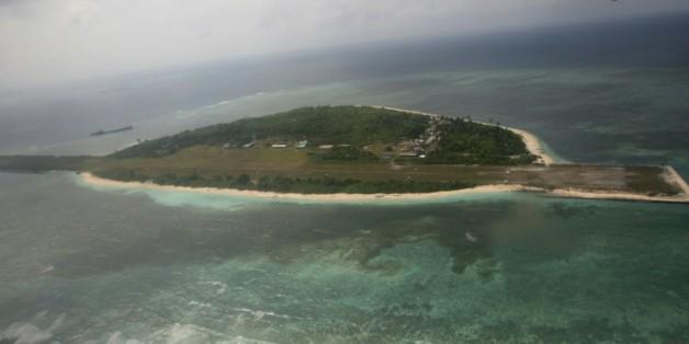 Vue aérienne en date du 20 juin 2011 de l'île Thitu dans l'archipel des Spratleys en mer de Chine méridionale