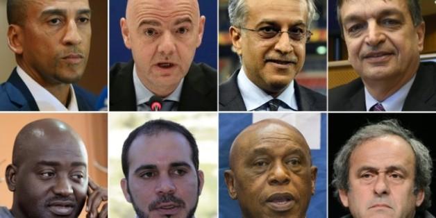 Photomontage des 8 candidats à la présidence de la Fifa