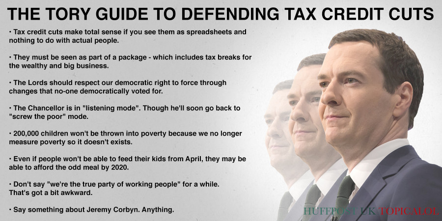 tory guide to defending tax credit cuts