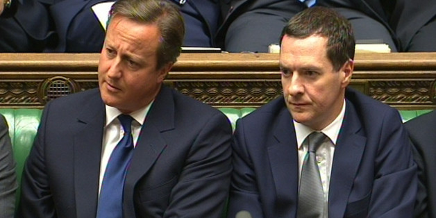 Prime Minister David Cameron and Chancellor George Osborne during Prime Minister's Questions in the House of Commons, London.