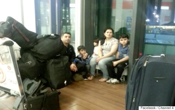 syrian family stuck in in airport