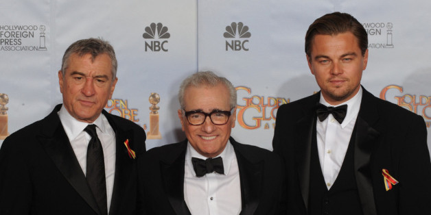 Robert de Niro, Martin Scorsese und Leonardo DiCaprio (v.l.) bei den 67. Golden Globe Awards in Beverly Hills.