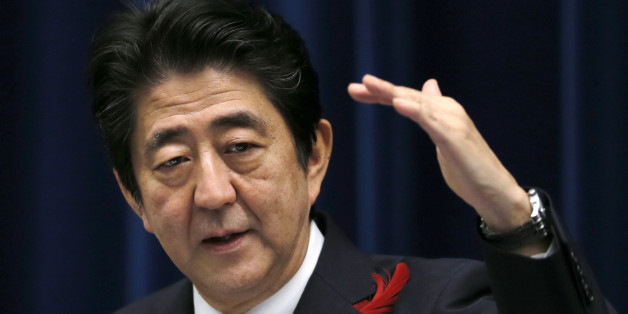 Japan's Prime Minister Shinzo Abe speaks about the agreement on the Trans-Pacific Partnership trade deal at Abe's official residence in Tokyo, Tuesday, Oct. 6, 2015. (AP Photo/Shuji Kajiyama)