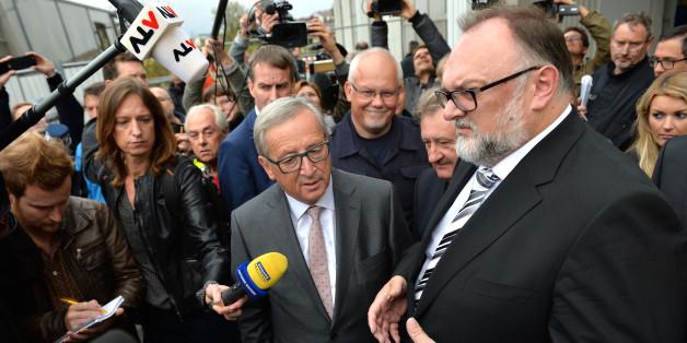 Der Oberbürgermeister von Passau, Jürgen Dupper, mit EU-Kommissionspräsident Jean-Claude Juncker