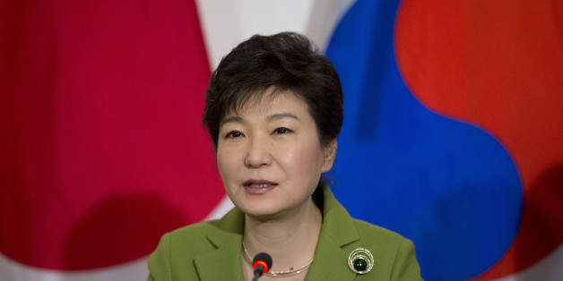 South Korean President Park Geun-hye speaks during a trilateral meeting with President Barack Obama and Japanese Prime Minister Shinzo Abe, Tuesday, March 25, 2014, at the US Ambassador's Residence in the Hague, Netherlands. (AP Photo/Pablo Martinez Monsivais)