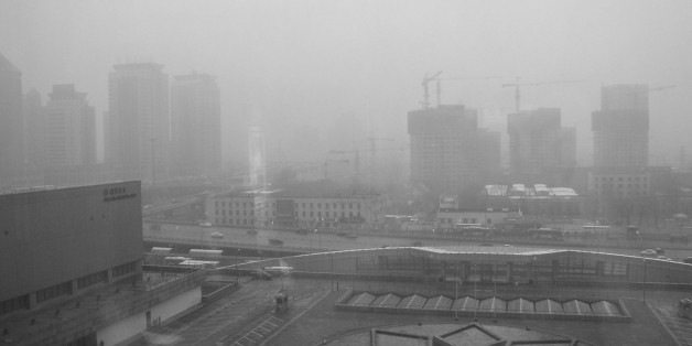 Beijing smog as seen from the China World Hotel, March 2003, during the SARS outbreak.This was my first shot posted to Flickr.
