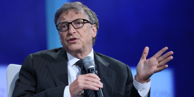 CNBC EVENTS -- Pictured: Bill Gates, co-founder of Microsoft, speaks at the Clinton Global Initiative Annual Meeting, 'The Future of Impact', hosted by former President Bill Clinton, at the Sheraton Times Square in New York City, on September 27, 2015 -- (Photo by: Adam Jeffery/CNBC/NBCU Photo Bank via Getty Images)