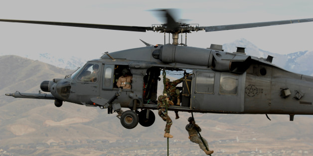 "U.S. Army Soldiers from the 19th Special Forces, Utah National Guard are lifted on board an Air Force HH-60 Pave Hawk helicopter over the Utah Test and Training Range Nov. 9, 2007, during combat search and rescue (CSAR) integration exercise. The training was given by Airmen from the 34th Weapons Squadron, United States Air Force Weapons School out of Nellis Air Force Base, Nev. The exercise\'s objective was to expand expertise and integration with Utah\'s 211th Aviation Group AH-64 Apache Joint Rotary Wing, 4th Fighter Squadron F-16 Fighting Falcon Striker assets, 19th Special Operations Forces, and conduct extensive joint CSAR operations against surface to air threats. (U.S. Air Force photo by Master Sgt. Kevin J. Gruenwald) <a href=""http://www.army.mil"">www.army.mil</a>"