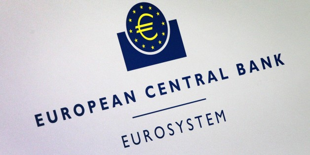 The logo of the European Central Bank (ECB) is seen at press conference following the meeting of the Governing Council in Frankfurt am Main, Germany, on July 16, 2015. European Central Bank chief Mario Draghi said that it was 'uncontroversial' that some form of debt relief for Greece -- whose debts amount to 180 percent of output -- was 'necessary'.  AFP PHOTO / DANIEL ROLAND        (Photo credit should read DANIEL ROLAND/AFP/Getty Images)