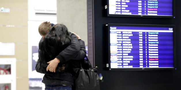 SAINT PETERSBURG, RUSSIA - OCTOBER 31: Relatives of passengers of Russian Airbus-321 aircraft react at Pulkovo international airport in Saint Petersburg, Russia on October 31, 2015.  A Russian Airbus-321 aircraft with 224 people aboard crashed in Egypt's Sinai Peninsula on Saturday, according to the Egyptian Prime Minister's office. According to Egypts Civil Aviation Authority, the plane lost contact with air-traffic controllers shortly after taking off from the Egyptian Red Sea resort city of S