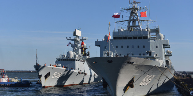 Chinese Navy Yiyang 548 frigate and Qiandaohu 886 supply vessel are moored in the navy port in Gdynia, Poland, Wednesday, Oct. 7, 2015, on the first ever visit by the Chinese navy to this European Union nation. The visit marks 66 years of bilateral ties and is intended to strengthen them even further. They will remain until Sunday and will be open to the public on Saturday. (AP Photo/Andrzej J. Gojke) POLAND OUT
