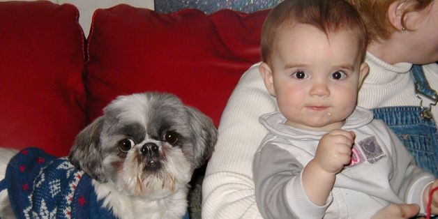 Baby & dog, staring at me