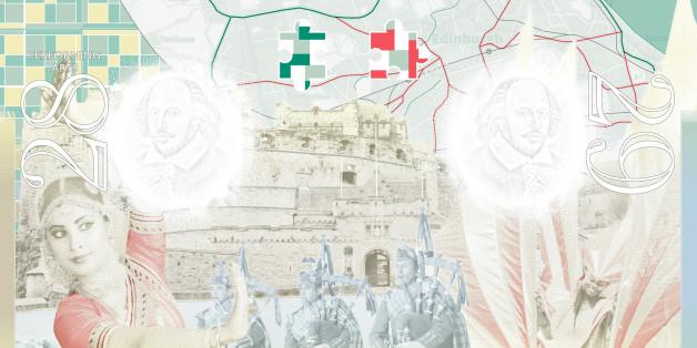 Representing UK multi-cultural festivals, an OS map of Edinburgh symbolises the Edinburgh Fringe Festival